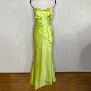 David's Bridal strapless dress with cascade neon 6